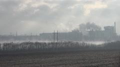 Atomic power plant, Background Electric Poles farm Stock Footage