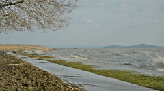 Wind storm at Lake Balaton, Hungary Stock Footage