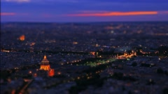 France, Paris night aerial view, Hotel des Invalides, time-lapse, tilt-shift. Stock Footage