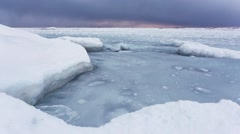 Freezing water in the Arctic fjord - Spitsbergen, Svalbard Stock Footage