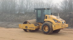Paver lays the sand Stock Footage