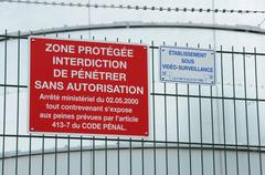 Sign on entry in a French factory Stock Photos