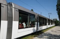 Stock Photo of France, tramway in European Parliamant distric of Strasbourg