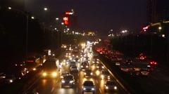 107 National Highway Shenzhen night traffic landscape Stock Footage