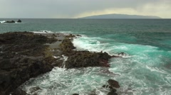 Ocean waves crush on rocky shore, Tenerife. Stock Footage