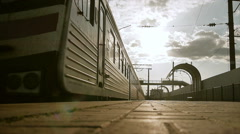 Arrival of old train to a railway station Stock Footage