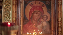 JERUSALEM, ISRAEL - FEBRUARY 08, 2015: Icon image of Virgin Mary - the mother of Stock Footage