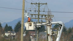 Hydro Lineman Connecting New Wires On Telephone Pole Stock Footage