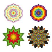 Set of 4 colorful shapes Stock Illustration