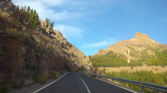 4K. POV. Driving on mountain road, Tenerife, Canary islands. - stock footage