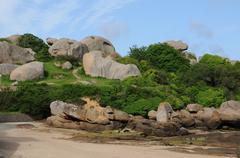Brittany, the village of La Clarte in Perros Guirec Stock Photos