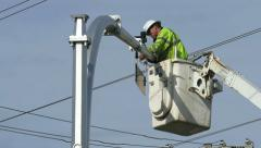 Traffic Control Technician Installing New Wiring Stock Footage