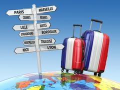 Travel concept. Suitcases and signpost what to visit in France. - stock illustration