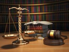 Justice concept. Gavel,  golden scales and books in the library with dof effe - stock illustration