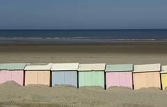 beach huts in Berck in Nord Pas de Calais - stock photo