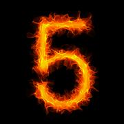 Burning number 5 Stock Illustration