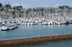 Bretagne, the harbour of Perros Guirec Stock Photos