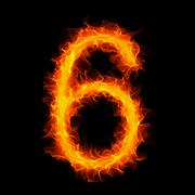 Burning number 6 Stock Illustration