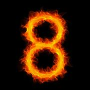 Burning number 8 Stock Illustration