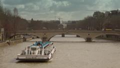 Time lapse boat tour with tourists Seine river, Paris - 60fps Stock Footage