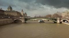 Paris bridge boat tour zoom in - 60fps Stock Footage