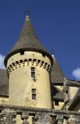 Dordogne, the middle age castle of Puymartin Stock Photos