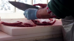Butcher, Meat Chopping Stock Footage