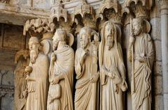Stock Photo of cathedral of Chartres, statues on the porch