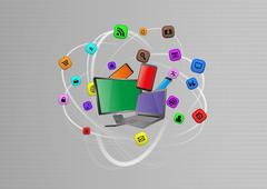 illustration of tech device with multimedia graphic - stock illustration