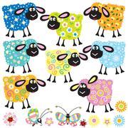Stock Illustration of set decorative sheep