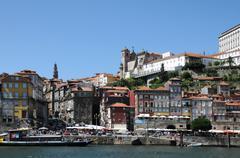 Portugal, view of Porto from Douro river - stock photo