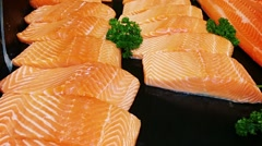 Raw Salmon Fillet Steaks at the Supermarket Stock Footage