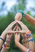 peace sign or symbol made with hands - stock photo