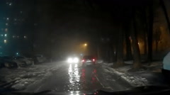 Night Foggy Mist Car Road 2 Stock Footage