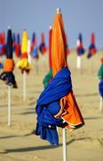 France, parasol on the Deauville beach Stock Photos