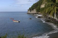 Landscape of Anse Belleville in Martinique Stock Photos