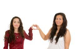 portrait of beautiful lesbian couple in love - stock photo