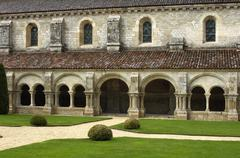 Burgundy, the cloister of Fontenay s abbey - stock photo