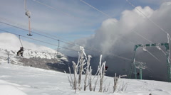 Beautiful Snowy Mountain And Ski Lift Station Stock Footage