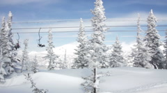 Beautiful Snowy Mountain And Ski Lift Station - stock footage