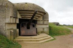 artillery battery of Longues sur Mer in Basse Normandie - stock photo