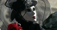 Close up of a venetian masks black Stock Footage
