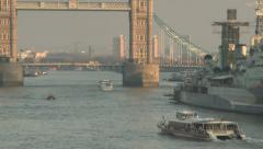 City London Riverboat tilt to TowerBridge Stock Footage
