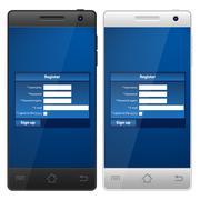 Smartphone register Stock Illustration