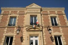 France, the city hall of Mareil sur Mauldre - stock photo