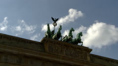 Berlin - Top of Brandenburg Gate - Horse Quadriga Vintage Sculpture Stock Footage