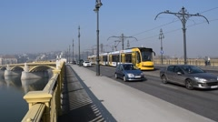 Tram & Cars Crossing Margaret Bridge, Budapest, Hungary Stock Footage