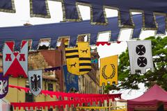 medieval flags - stock photo