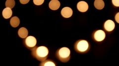 Candles Lights - Love Heart Stock Footage