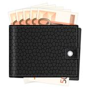 Wallet with fifty euro banknotes Stock Illustration